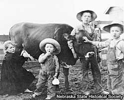 Photo of children with a cow.