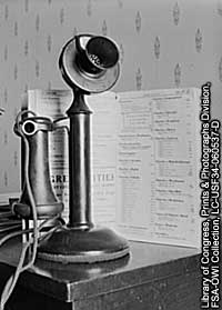 Photo of an old-fashioned telephone.