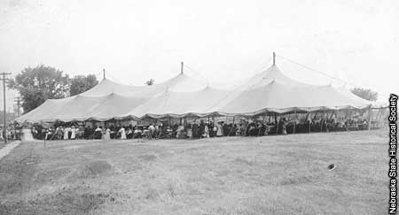 Photo of large chautauqua tent.