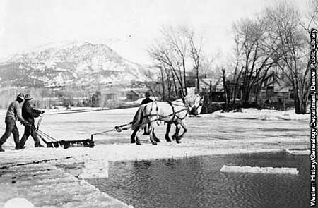Photo of horses pulling ice cutter on pond.